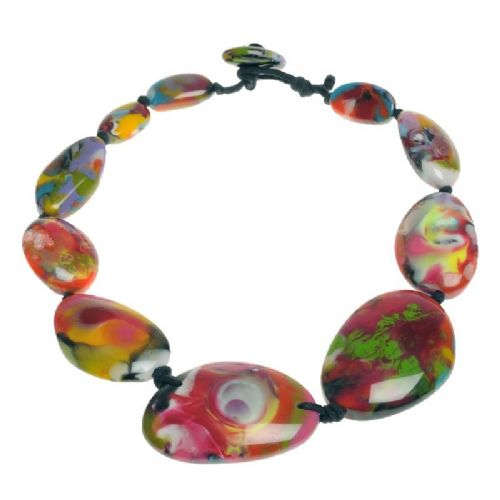 Jackie Brazil short flat riverstone necklace in Kandinsky C